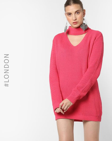 Knitted Sweater Dress With Choker Neckline By Glamorous ( Coral )
