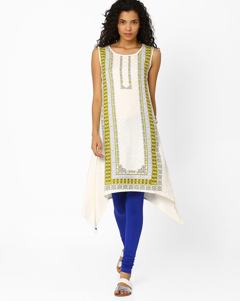 Floral Print Asymmetrical Kurta By Global Desi ( Cream )
