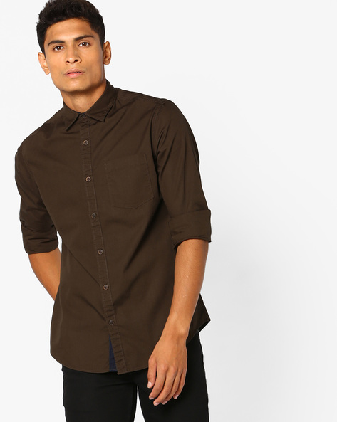 Utility Printed Slim Fit Shirt By AJIO ( Olive )