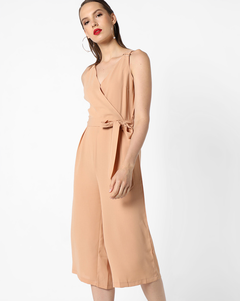 Sleeveless Jumpsuit With Waist Tie-Up By INFLUENCE ( Nude )
