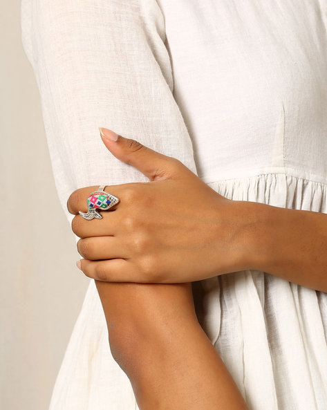 Fish-Shaped Adjustable Ring By Indie Picks ( Metallic )