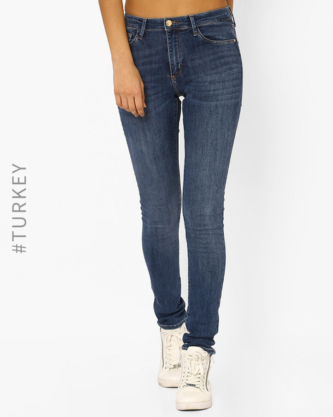 High-Rise Skinny Jeans By Cross Jeans ( Blue )