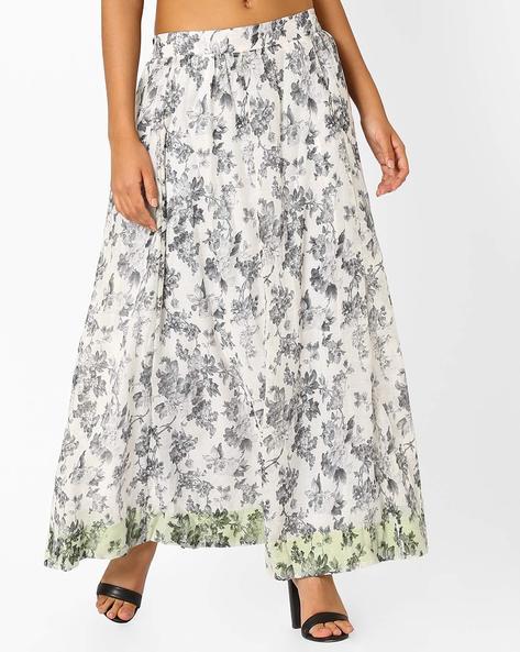 Floral Printed Long Skirt By AJIO ( Grey )