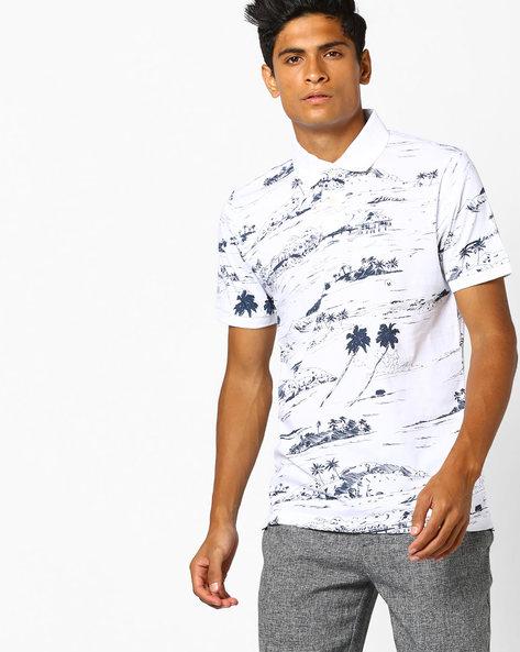 Tropical Print Polo T-shirt By Aeropostale ( Bleach )
