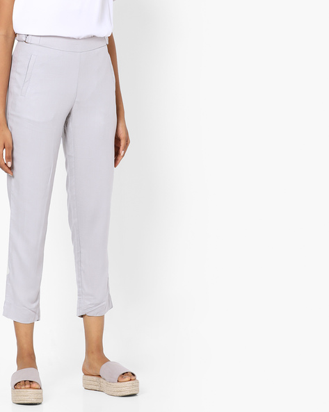 Cropped Pants With Insert Pockets By SAINT TROPEZ ( Ltgrey )