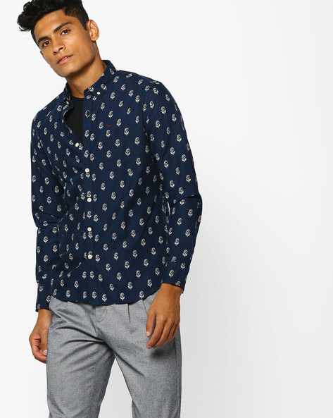 Floral Print Shirt With Patch Pocket By FLYING MACHINE ( Navy )