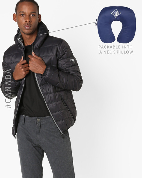 Convertible Ultralight Quilted Jacket With Hood By Point Zero ( Black ) - 460094628017