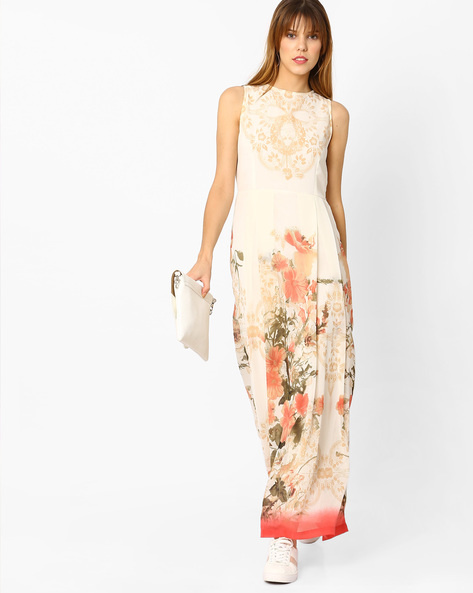 Printed Sleeveless Maxi Dress By Rain & Rainbow ( Coral )