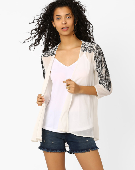 Sheer Shrug With Embellishments By Oxolloxo ( White )