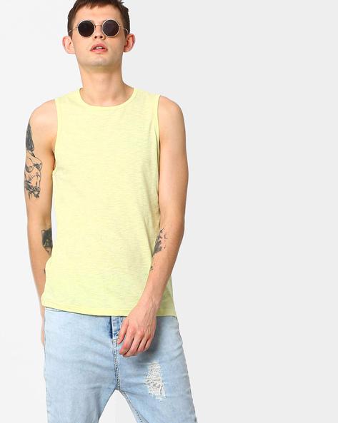 Tank T-shirt With Zipper Detail By AJIO ( Lgtyellow )