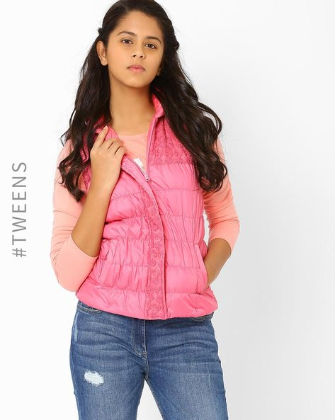 Quilted Hooded Jacket By AJIO ( Pink )
