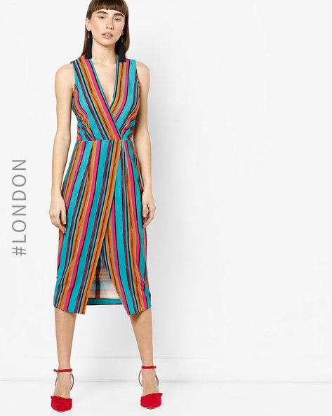 Striped A-line Asymmetric Hem Dress By Closet London ( Multi )