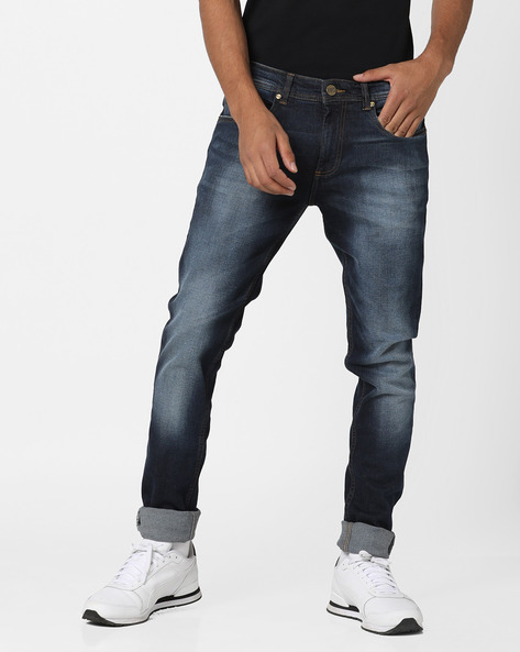 Mid-Washed Skinny Fit Jeans By BASICS ( Navy )