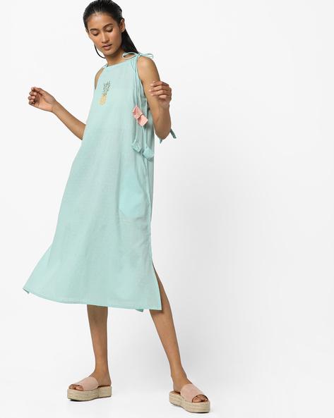 Strappy Dress With Side Slits By AJIO ( Aqua )