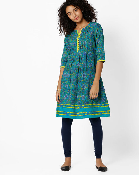 Floral Print Cotton Kurta By AVAASA MIX N' MATCH ( Teal )