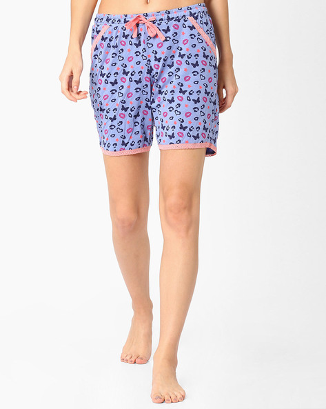 Printed Shorts With Lace Detail By Jockey ( Printed )