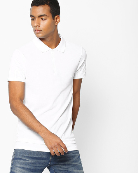 Polo T-shirt With Zip Neckline By Jack & Jones ( White )