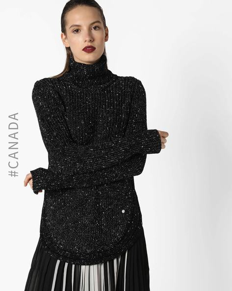 High-Neck Pullover With Curved Hemline By Point Zero ( Black )