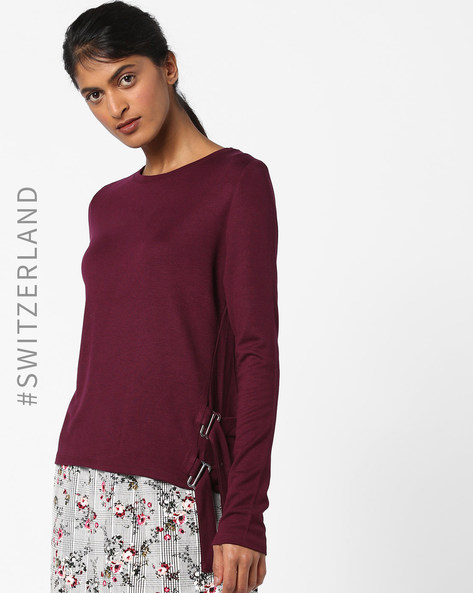 Crew-Neck Pullover With Side Tie-Up By TALLY WEiJL ( Purple )