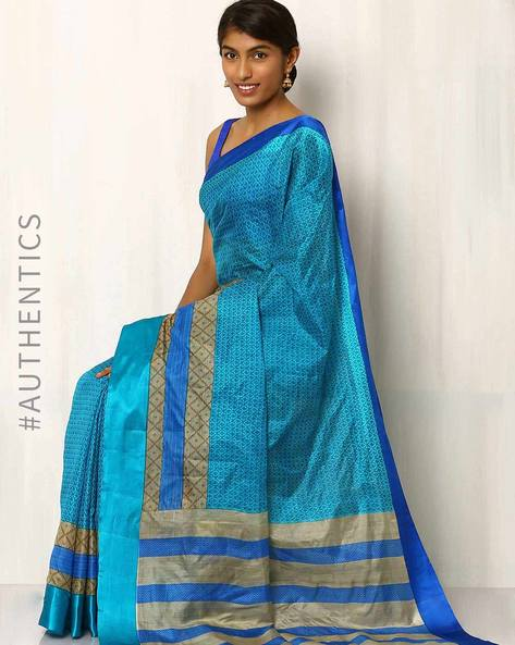 Printed Pure Silk Handloom Saree By Rudrakaashe-MSU ( Blue ) - 460018552001