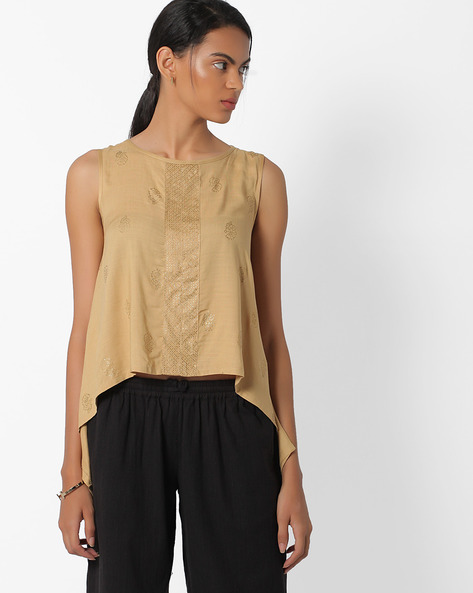 Printed Sleevless Top With Dipped Hems By Global Desi ( Beige )