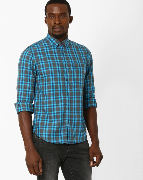 Yarn-Dyed Regular Fit Checked Shirt By AJIO ( Blue )