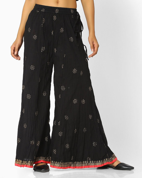 Crushed Palazzo Pants With Drawstring Waist By Indian Ink ( Black )