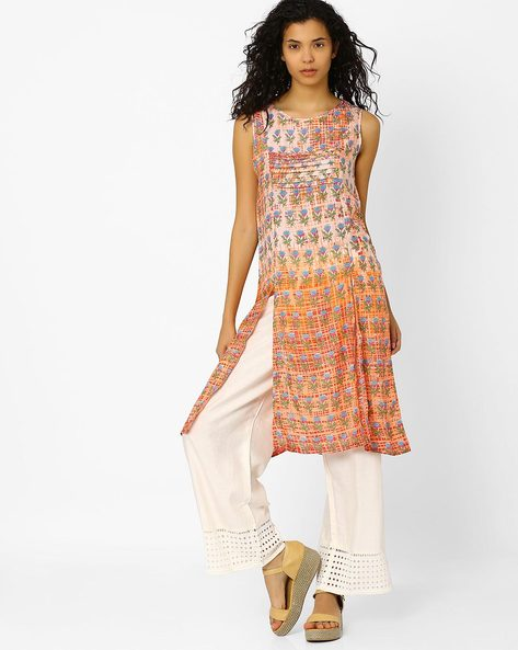 Printed Kurta With Front Slits By Global Desi ( Multi )
