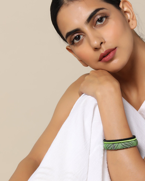 Hand-Embroidered Fabric & Thread Bangle Set By PADMAHASTHA ( Multi ) - 460092481001