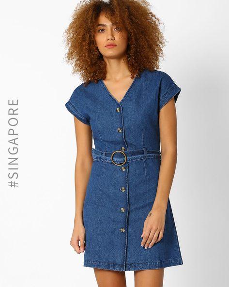 Denim Shirt Dress With Belt By MDS ( Blue )