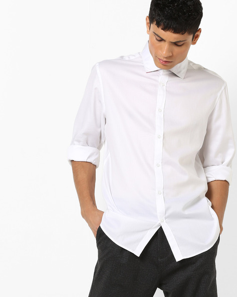 Shirt With Spread Collar By Celio ( White )