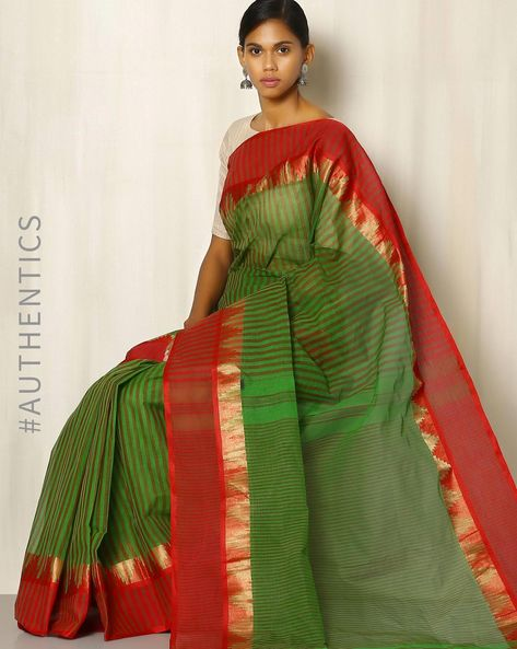 Handwoven Bengal Tant Striped Cotton Saree With Woven Border By Indie Picks ( Green )