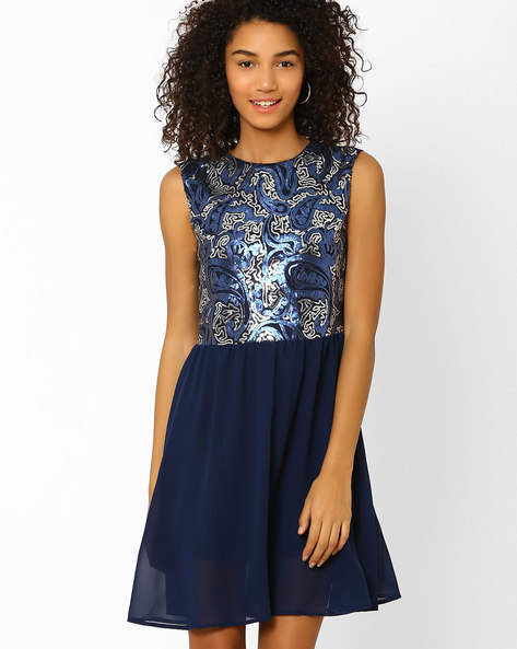 Sequin Embellished Fit & Flare Dress By AJIO ( Navyblue )