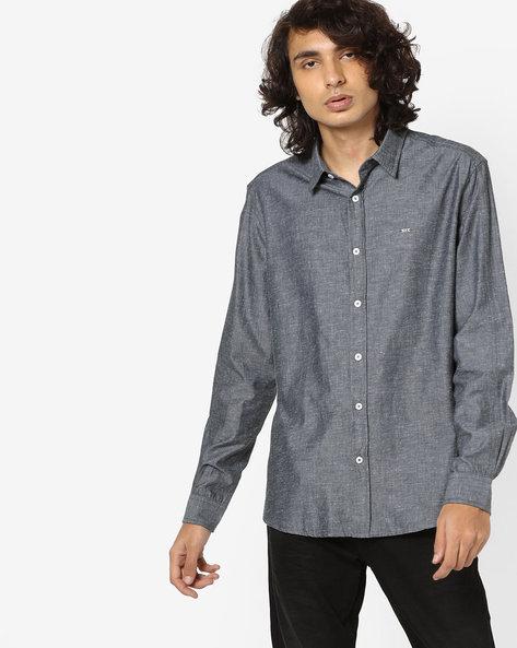 Cotton Shirt With Spread Collar By BASICS ( Ltgrey )
