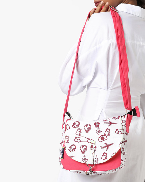 Printed Canvas Sling Bag By Kanvas Katha ( Peach )