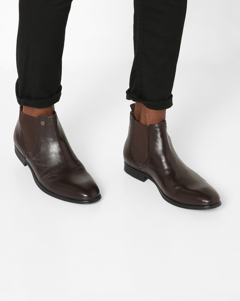 Panelled Mid-Top Boots By ALBERTO TORRESI ( Brown )