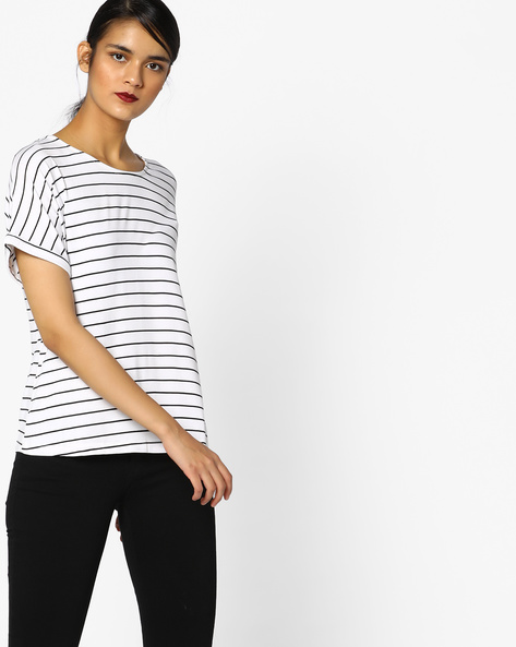 Knitted Striped Top By Project Eve WW Athleisure ( Black )