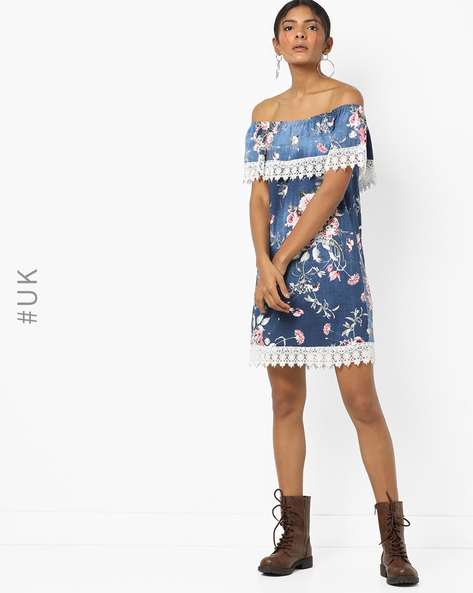 Floral Print Off-Shoulder Shift Dress By INFLUENCE ( Darkblue )