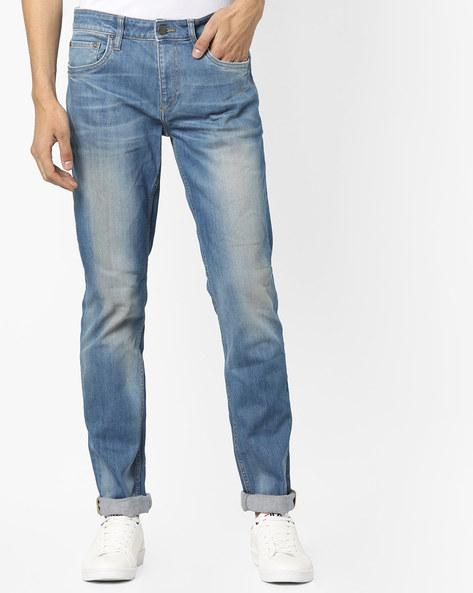 Lightly Washed Slim Fit Jeans By Jack & Jones ( Blue )