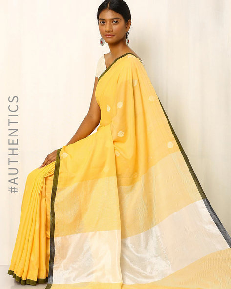 Bengal Handloom Jamdani Saree By Indie Picks ( Yellow ) - 460017513001