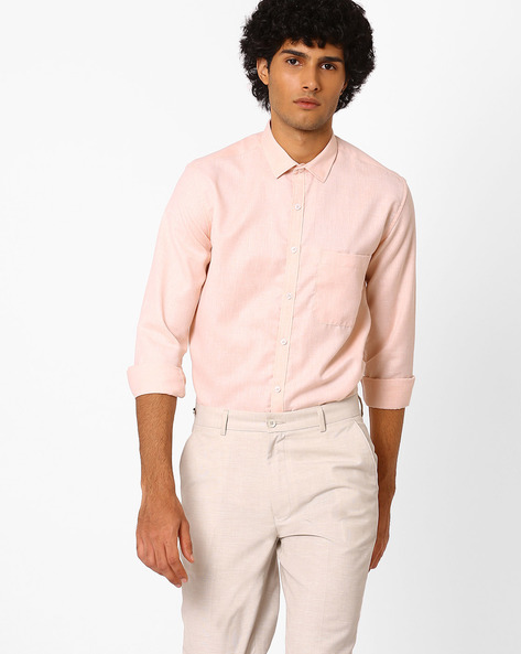 Slim Fit Shirt With Patch Pocket By British Club ( Orange )