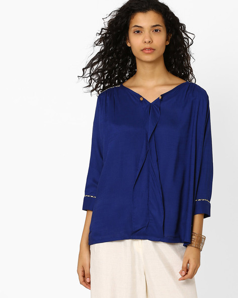 Pleat-Back Kyra Top By Global Desi ( Blue )