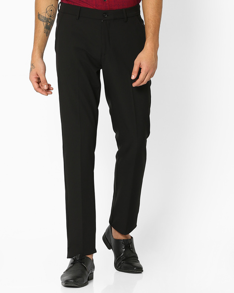 Flat-Front Slim Fit Stretch Trousers By NETWORK ( Black )
