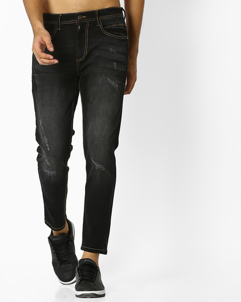 Slim Fit Jeans With Distressing By ADAMO LONDON ( Black )