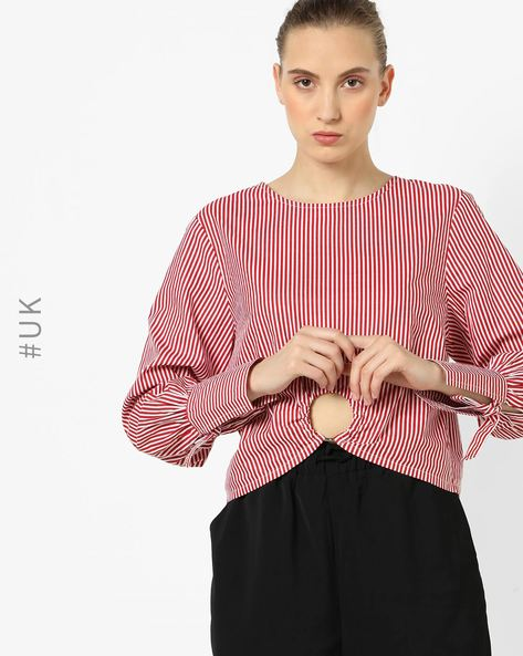 Striped Top With Back Button Placket By NEON ROSE ( Red )