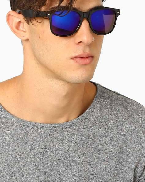 Mirrored Wayfarer Sunglasses By ALPHA MAN ( Blue )