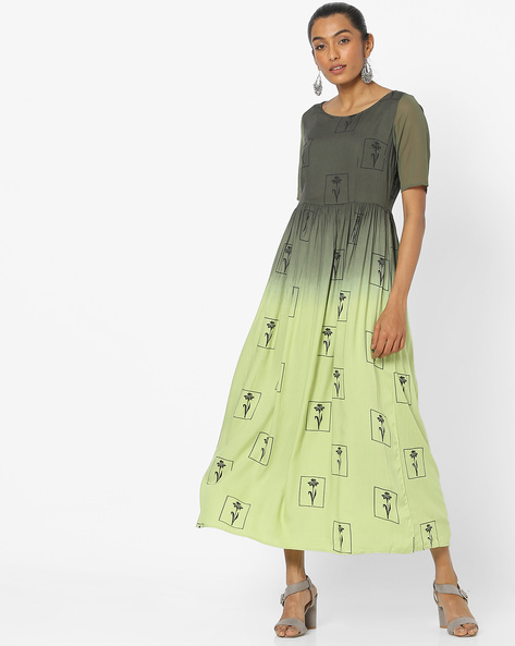 Floral Print Ombre-Dyed Midi Dress By COLOUR ME ( Green )