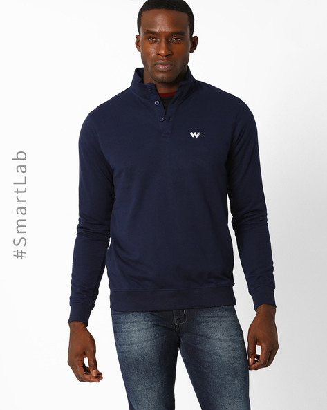 Sweatshirt With Ribbed Hems By Wildcraft ( Dkblue )