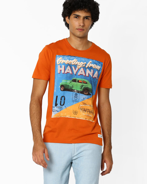 Graphic Print Cotton T-shirt By FLYING MACHINE ( Orange )