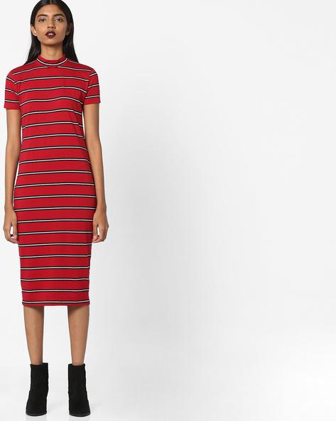 Striped Bodycon Dress With High-Neck By AJIO ( Maroon )